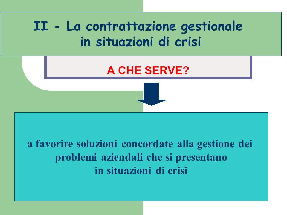 sacrifici in situazioni di crisi A CHE SERVE? a favorire soluzioni concordate alla gestione dei problemi aziendali che si presentano in situazioni di