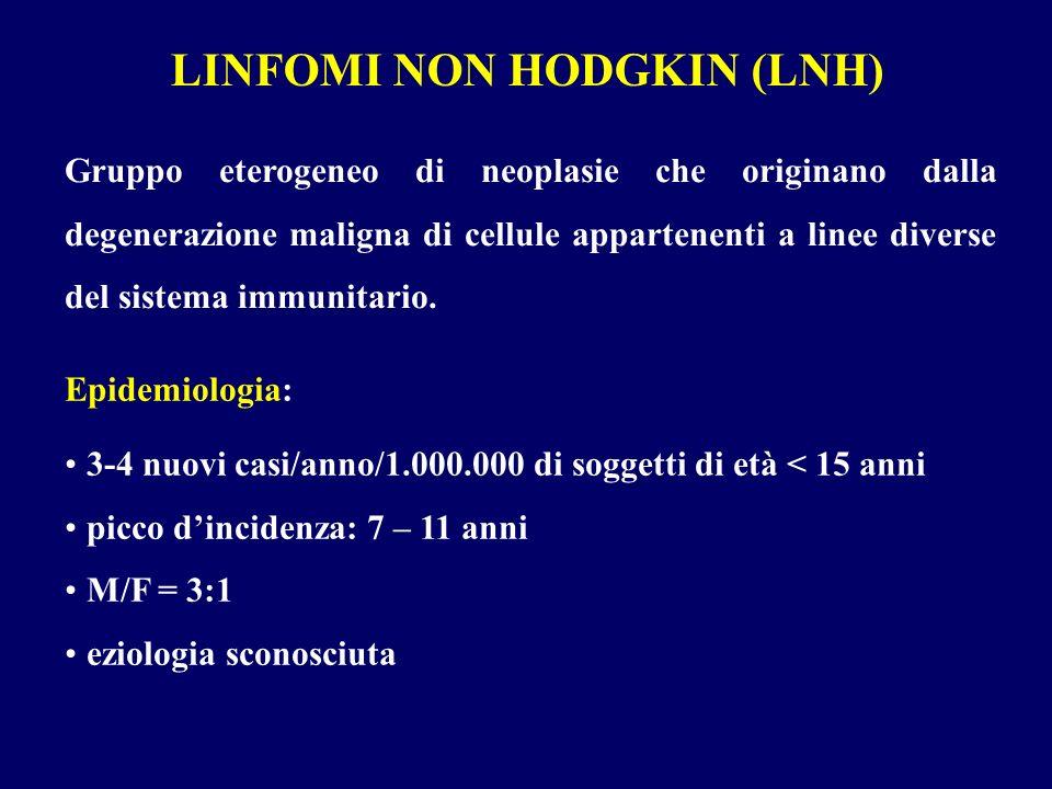 LINFOMI NON HODGKIN (LNH) Gruppo eterogeneo di neoplasie che originano dalla degenerazione maligna di cellule appartenenti a linee diverse del sistema