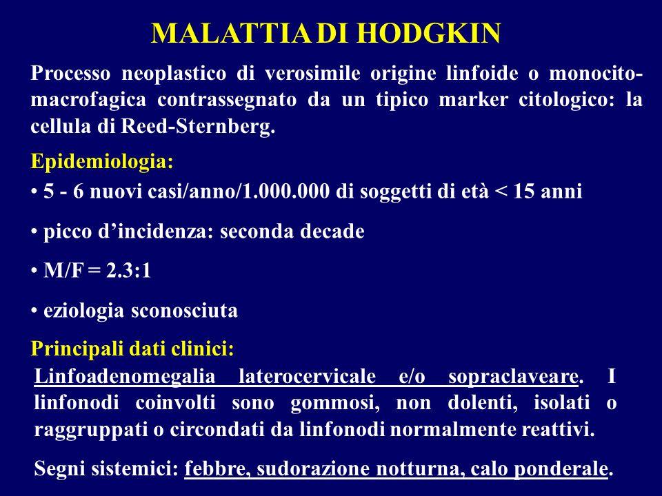 MALATTIA DI HODGKIN Processo neoplastico di verosimile origine linfoide o monocito- macrofagica contrassegnato da un tipico marker citologico: la cell