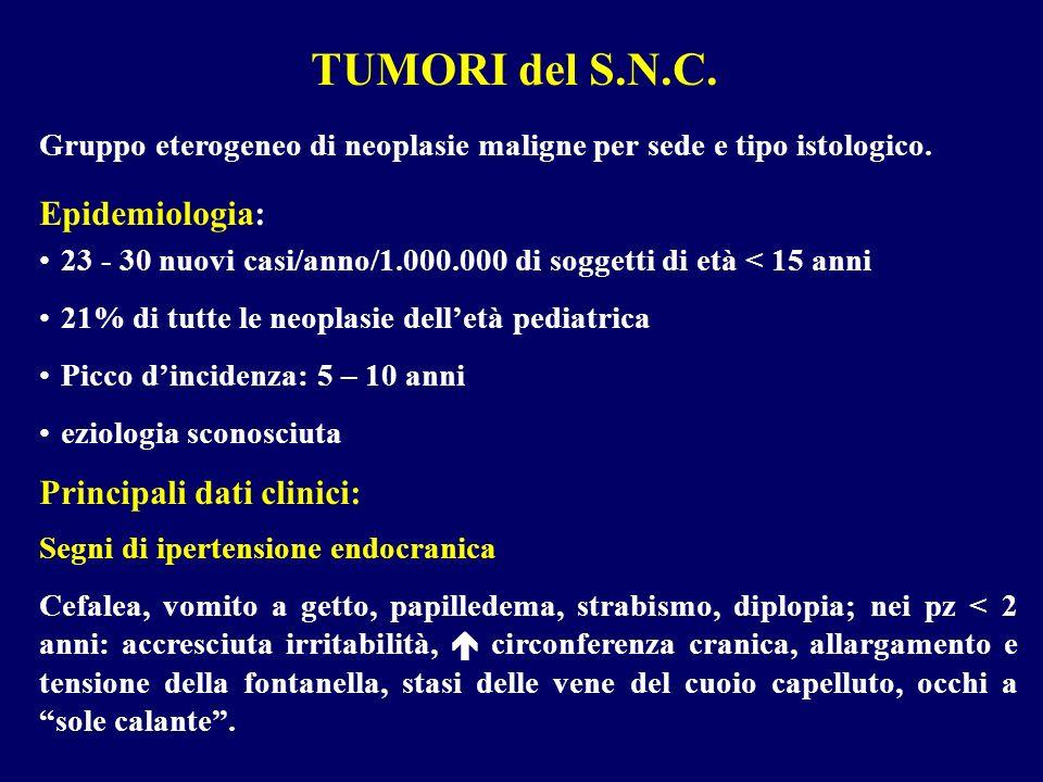 TUMORI del S.N.C. Gruppo eterogeneo di neoplasie maligne per sede e tipo istologico. 23 - 30 nuovi casi/anno/1.000.000 di soggetti di età < 15 anni 21