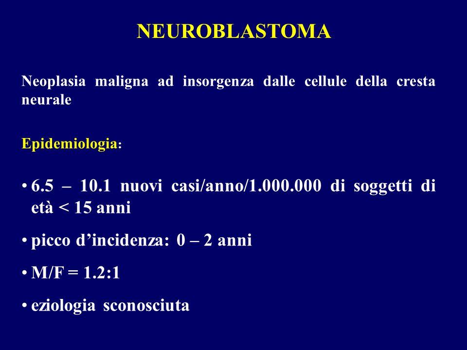 NEUROBLASTOMA Neoplasia maligna ad insorgenza dalle cellule della cresta neurale 6.5 – 10.1 nuovi casi/anno/1.000.000 di soggetti di età < 15 anni pic