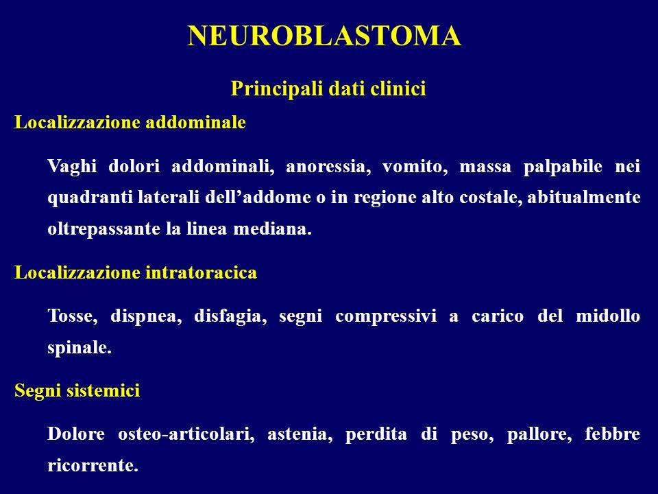 NEUROBLASTOMA Localizzazione addominale Vaghi dolori addominali, anoressia, vomito, massa palpabile nei quadranti laterali delladdome o in regione alt