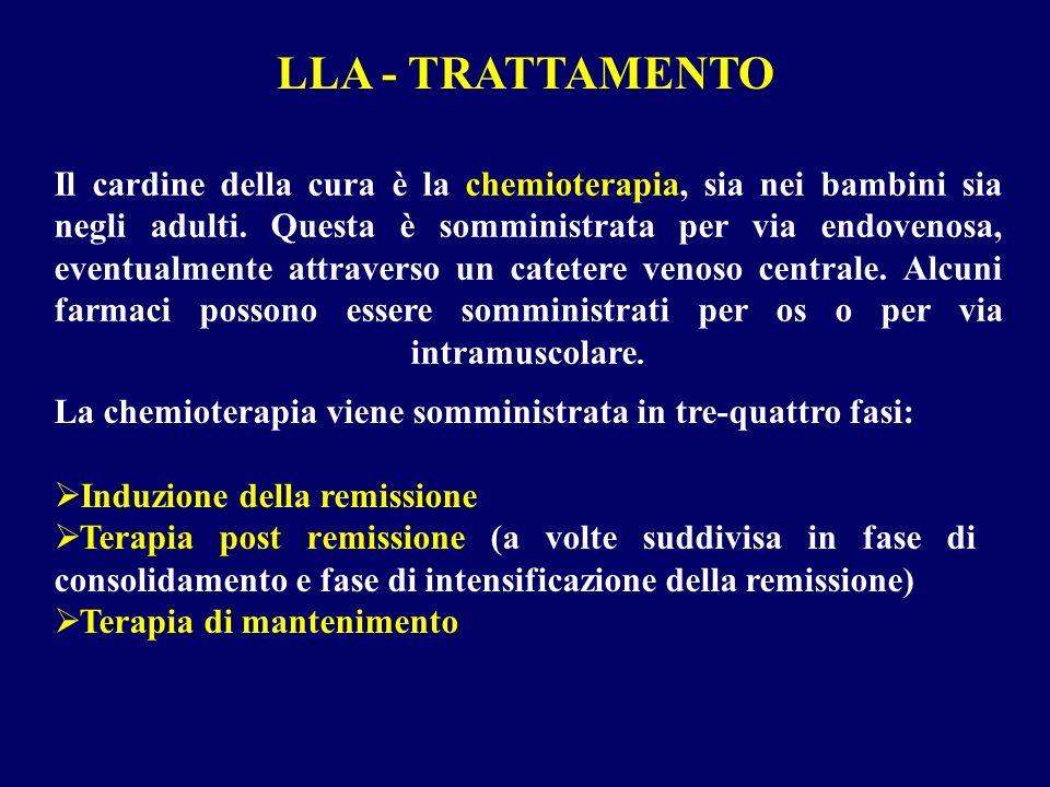 Il cardine della cura è la chemioterapia, sia nei bambini sia negli adulti. Questa è somministrata per via endovenosa, eventualmente attraverso un cat