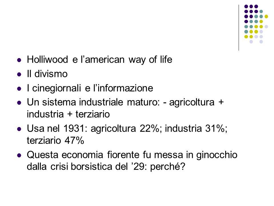 Holliwood e lamerican way of life Il divismo I cinegiornali e linformazione Un sistema industriale maturo: - agricoltura + industria + terziario Usa n