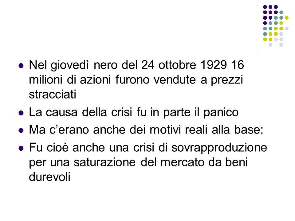 Nel giovedì nero del 24 ottobre 1929 16 milioni di azioni furono vendute a prezzi stracciati La causa della crisi fu in parte il panico Ma cerano anch