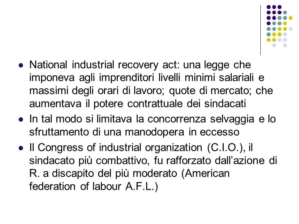 National industrial recovery act: una legge che imponeva agli imprenditori livelli minimi salariali e massimi degli orari di lavoro; quote di mercato;