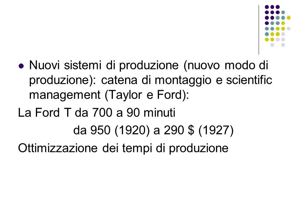 Nuovi sistemi di produzione (nuovo modo di produzione): catena di montaggio e scientific management (Taylor e Ford): La Ford T da 700 a 90 minuti da 9