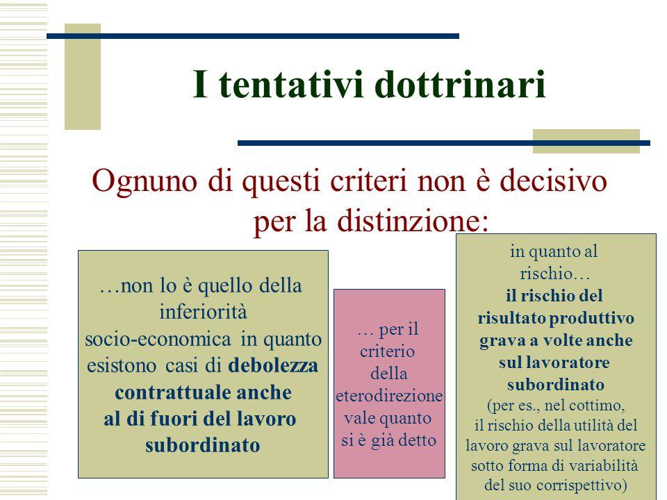 I tentativi dottrinari Ognuno di questi criteri non è decisivo per la distinzione: …non lo è quello della inferiorità socio-economica in quanto esisto