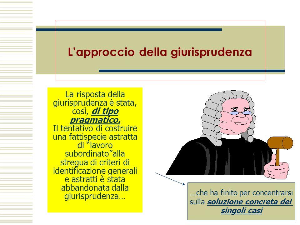 La risposta della giurisprudenza è stata, così, di tipo pragmatico. Il tentativo di costruire una fattispecie astratta di lavoro subordinatoalla streg