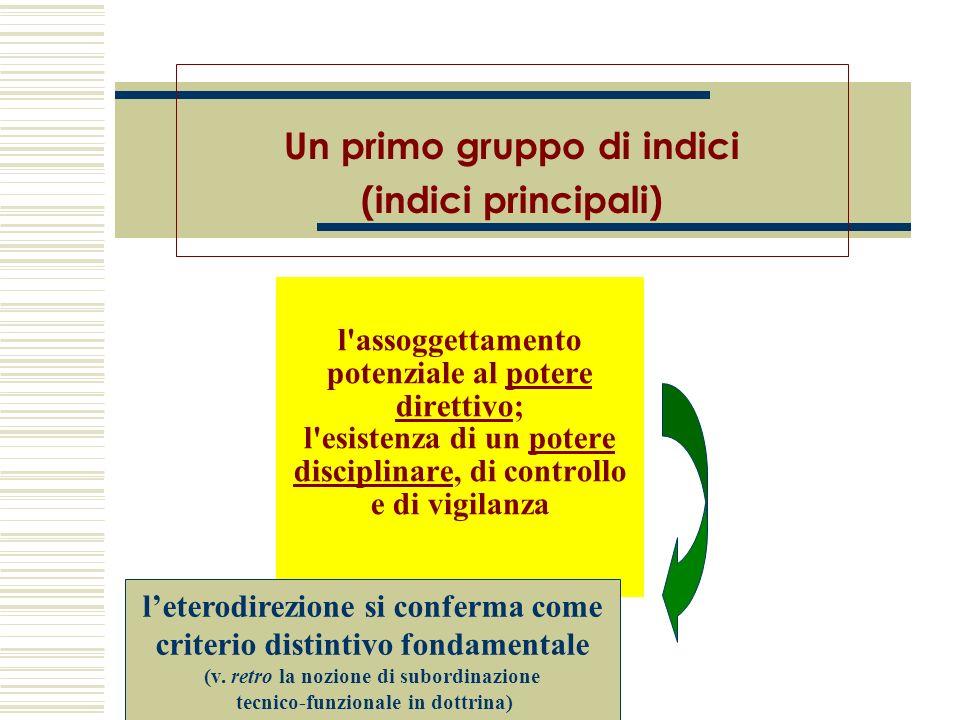 l'assoggettamento potenziale al potere direttivo; l'esistenza di un potere disciplinare, di controllo e di vigilanza Un primo gruppo di indici (indici