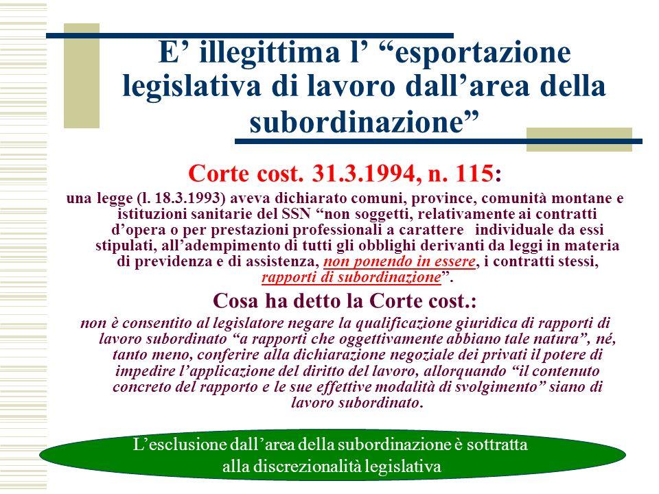E illegittima l esportazione legislativa di lavoro dallarea della subordinazione Corte cost. 31.3.1994, n. 115: una legge (l. 18.3.1993) aveva dichiar