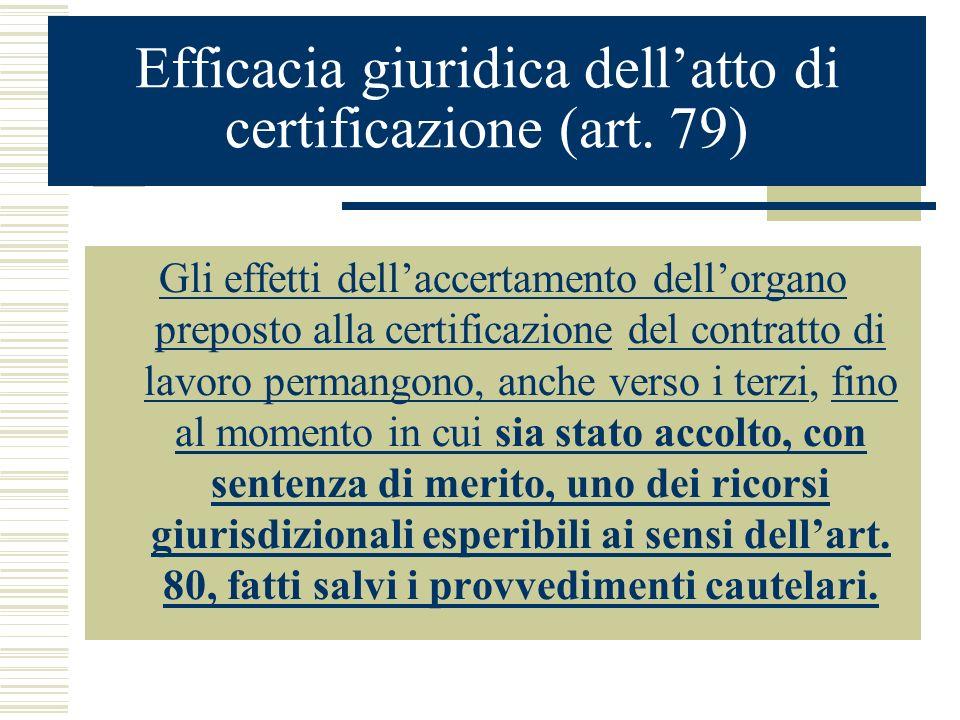 Efficacia giuridica dellatto di certificazione (art. 79) Gli effetti dellaccertamento dellorgano preposto alla certificazione del contratto di lavoro