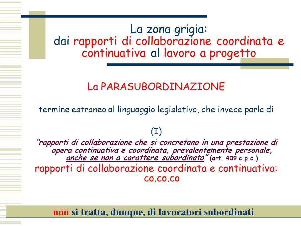 La zona grigia: dai rapporti di collaborazione coordinata e continuativa al lavoro a progetto La PARASUBORDINAZIONE termine estraneo al linguaggio leg