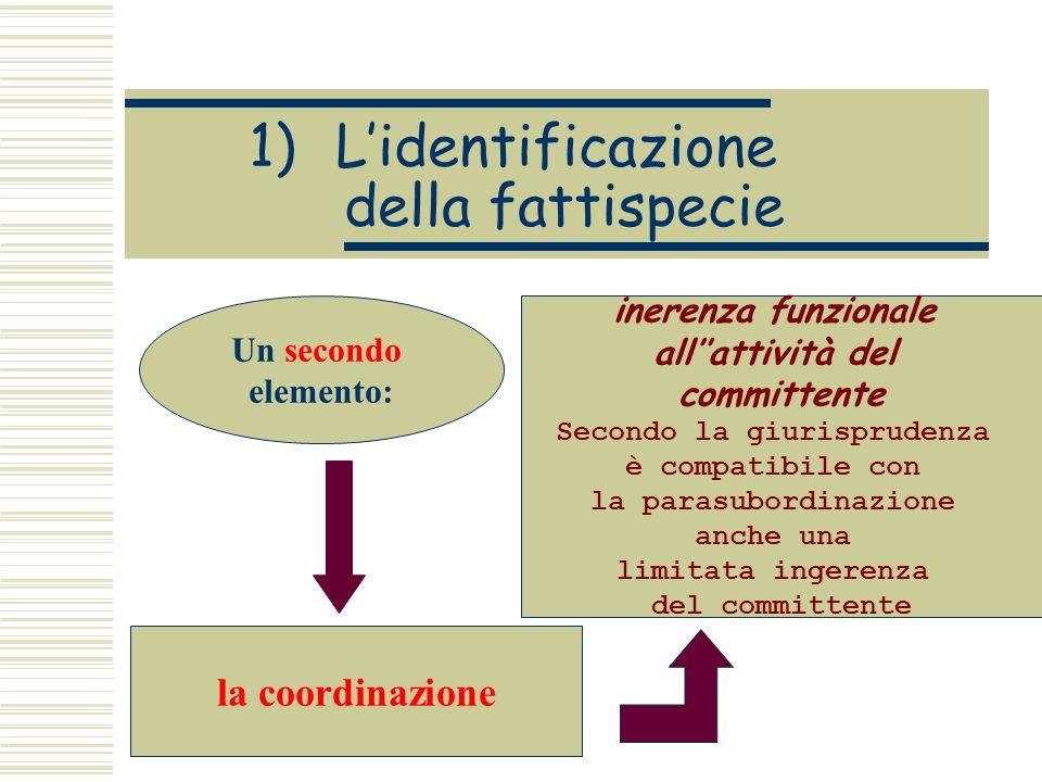 1)Lidentificazione della fattispecie Un secondo elemento: la coordinazione inerenza funzionale allattività del committente Secondo la giurisprudenza è