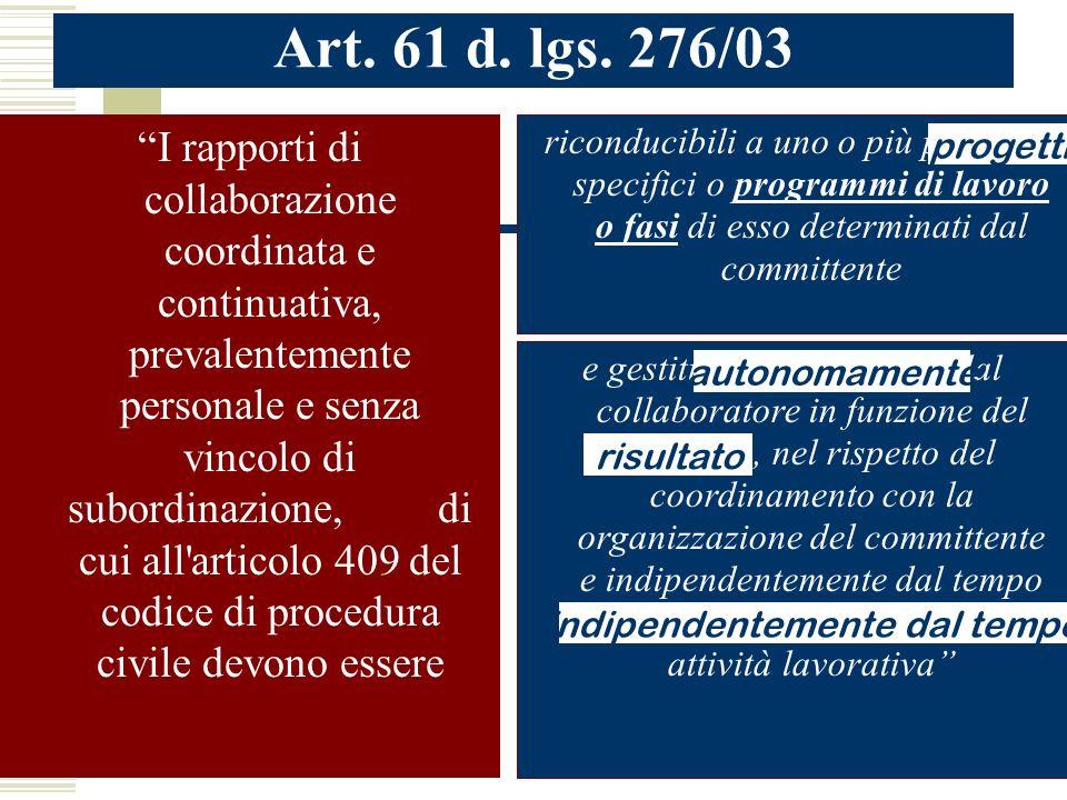 Art. 61 d. lgs. 276/03 I rapporti di collaborazione coordinata e continuativa, prevalentemente personale e senza vincolo di subordinazione, di cui all