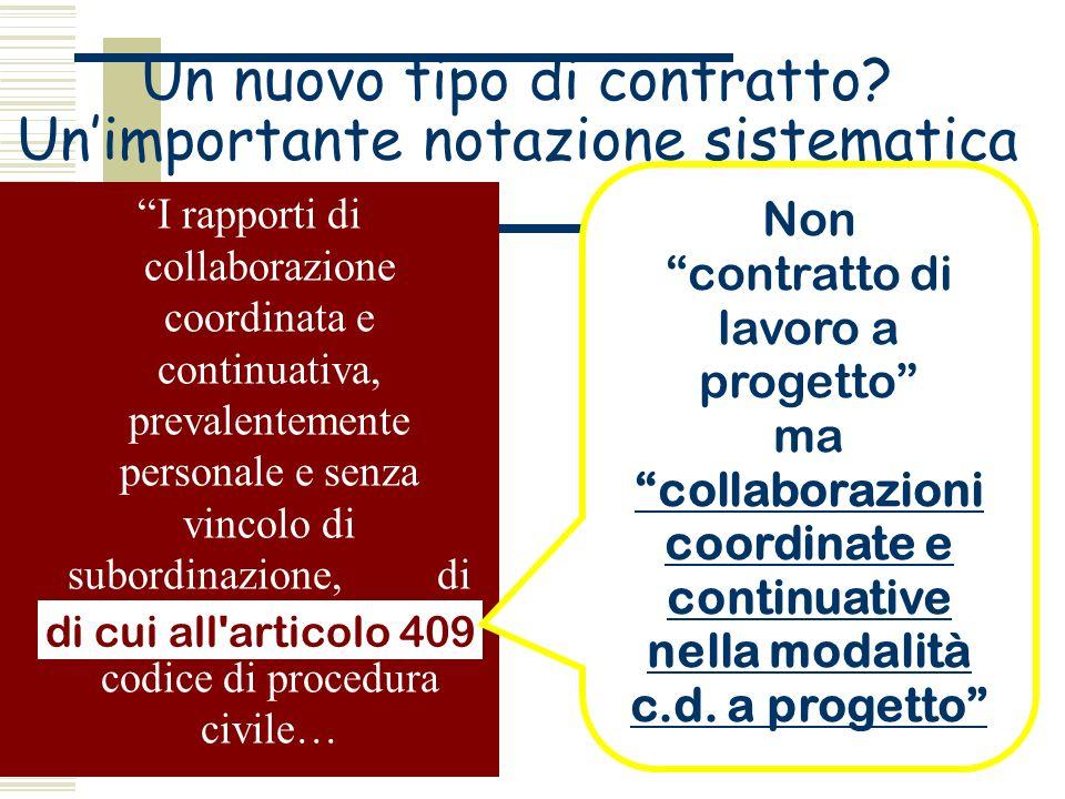 Un nuovo tipo di contratto? Unimportante notazione sistematica I rapporti di collaborazione coordinata e continuativa, prevalentemente personale e sen