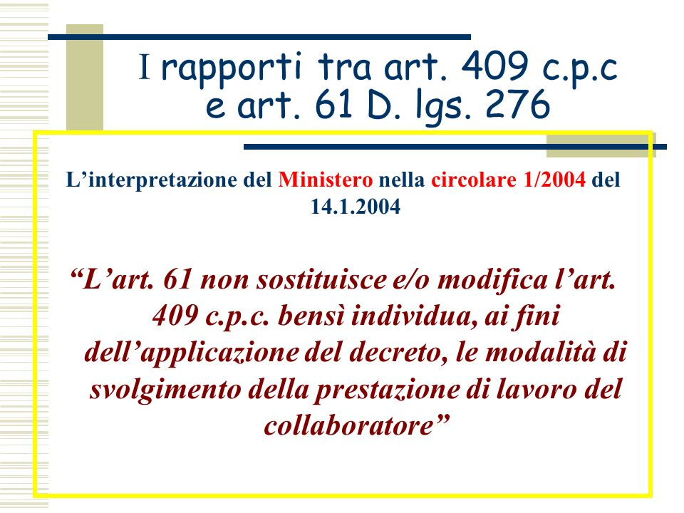 I rapporti tra art. 409 c.p.c e art. 61 D. lgs. 276 Linterpretazione del Ministero nella circolare 1/2004 del 14.1.2004 Lart. 61 non sostituisce e/o m