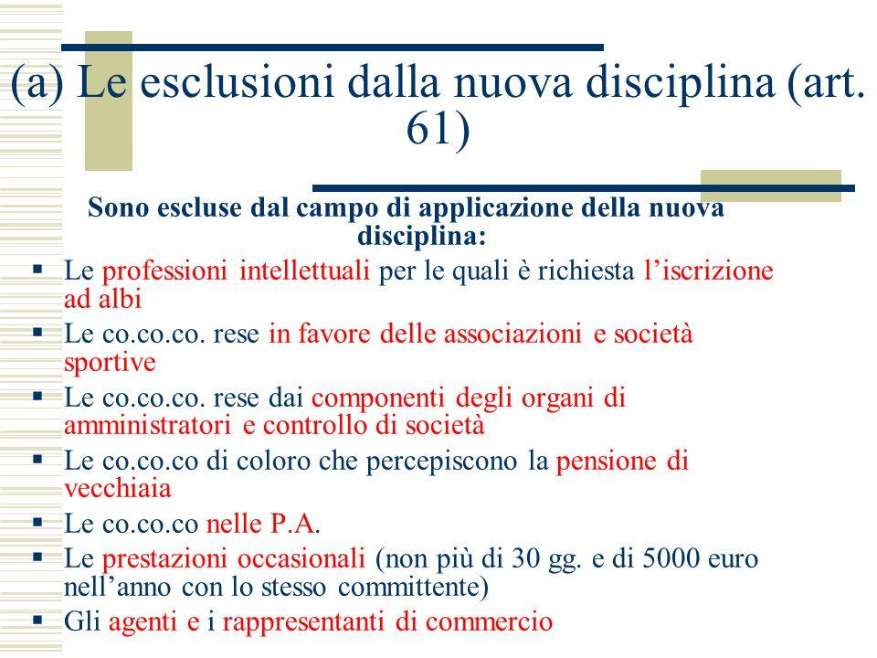 (a) Le esclusioni dalla nuova disciplina (art. 61) Sono escluse dal campo di applicazione della nuova disciplina: Le professioni intellettuali per le