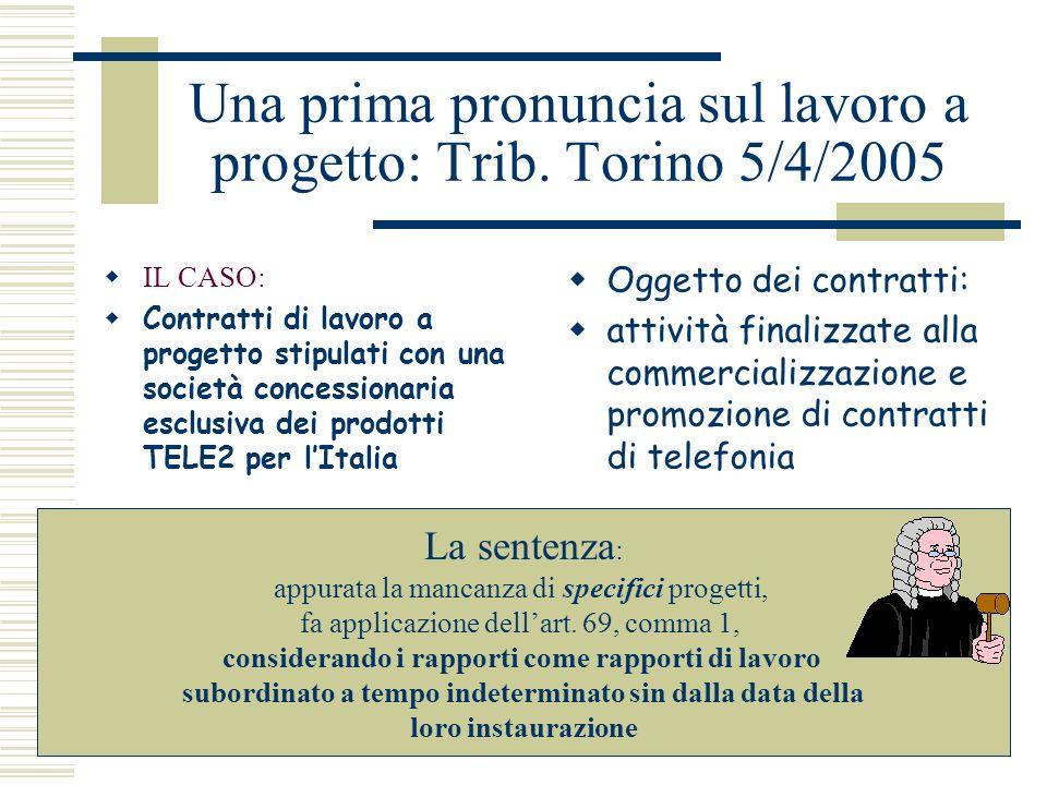 Una prima pronuncia sul lavoro a progetto: Trib. Torino 5/4/2005 IL CASO: Contratti di lavoro a progetto stipulati con una società concessionaria escl
