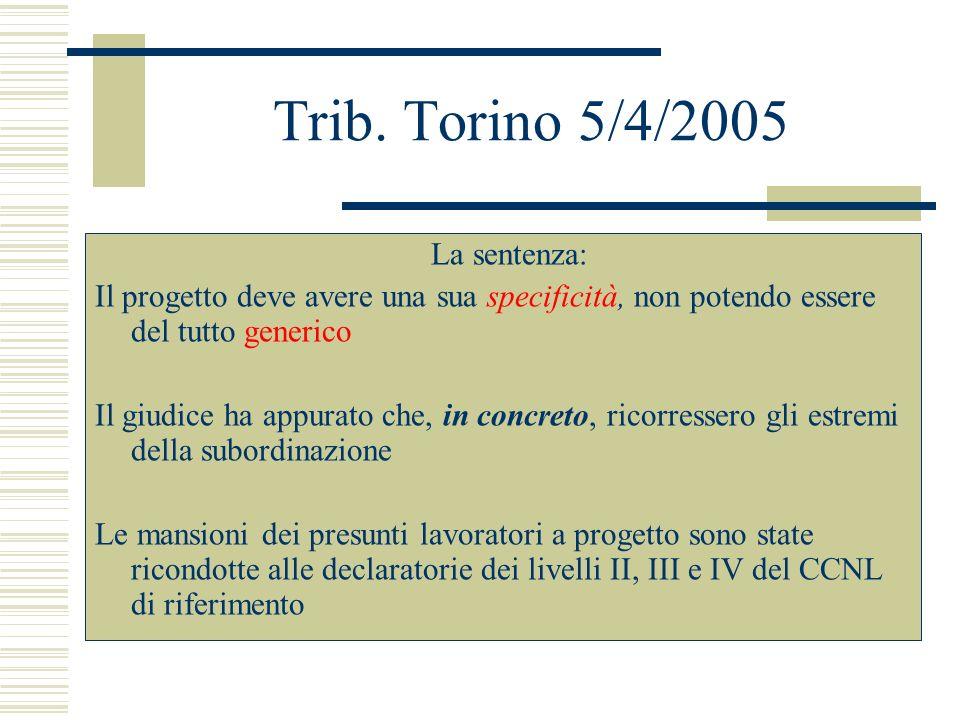 Trib. Torino 5/4/2005 La sentenza: Il progetto deve avere una sua specificità, non potendo essere del tutto generico Il giudice ha appurato che, in co