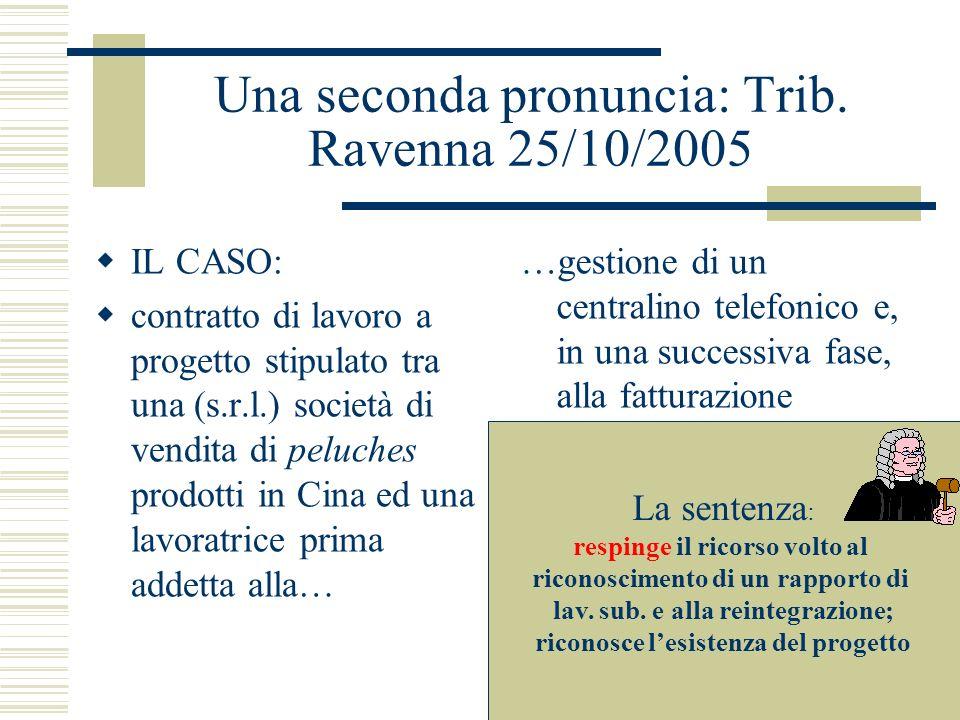 Una seconda pronuncia: Trib. Ravenna 25/10/2005 IL CASO: contratto di lavoro a progetto stipulato tra una (s.r.l.) società di vendita di peluches prod