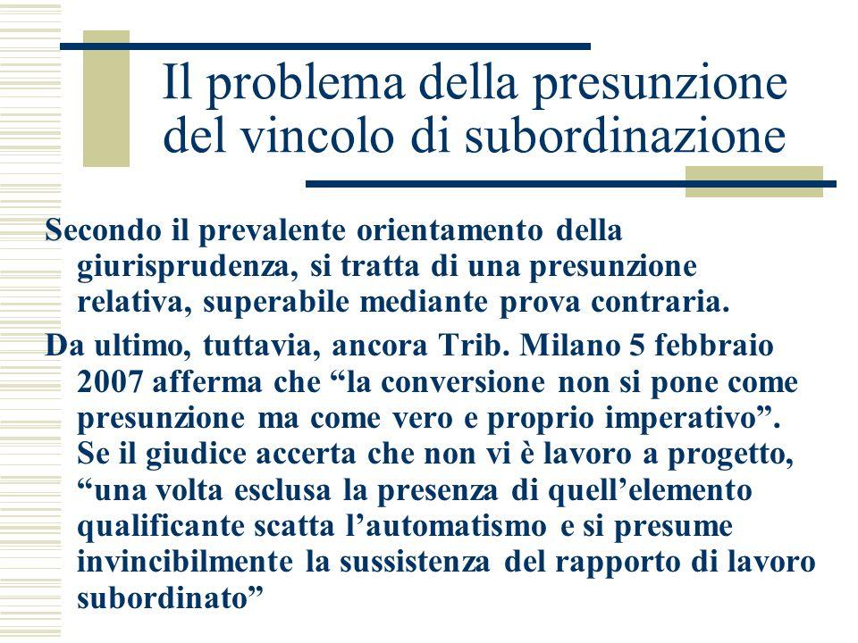 Il problema della presunzione del vincolo di subordinazione Secondo il prevalente orientamento della giurisprudenza, si tratta di una presunzione rela