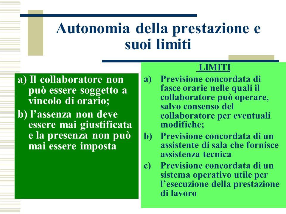 Autonomia della prestazione e suoi limiti a) Il collaboratore non può essere soggetto a vincolo di orario; b) lassenza non deve essere mai giustificat