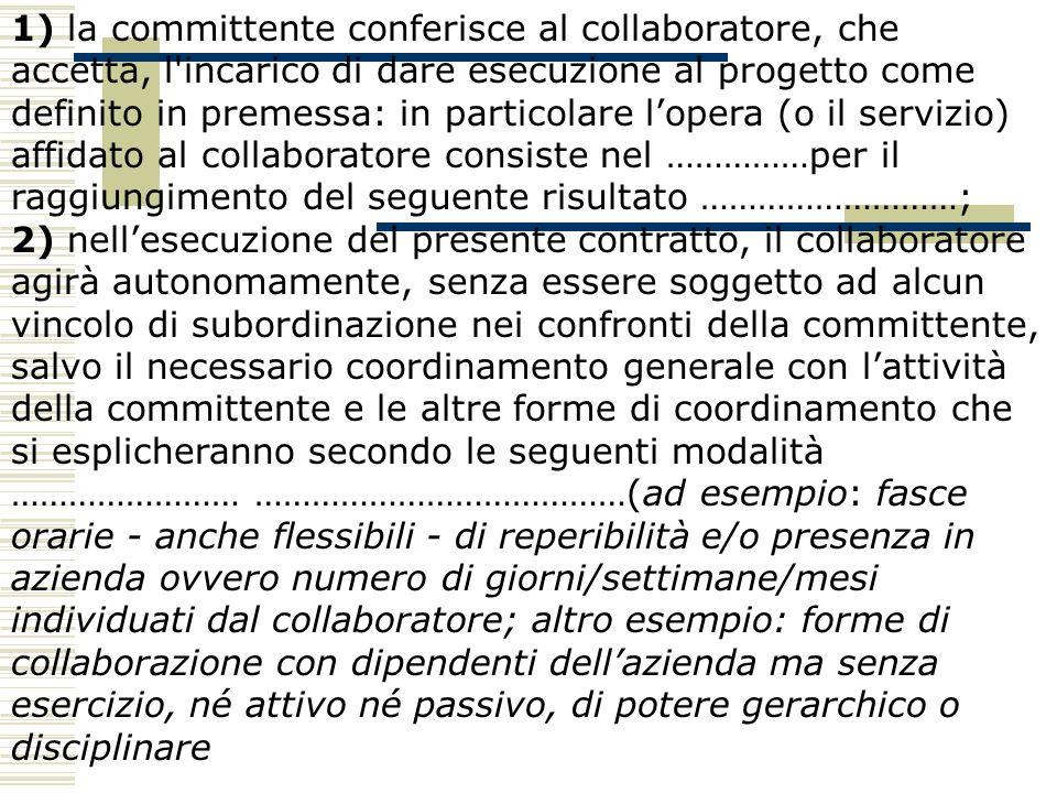 1) la committente conferisce al collaboratore, che accetta, l'incarico di dare esecuzione al progetto come definito in premessa: in particolare lopera