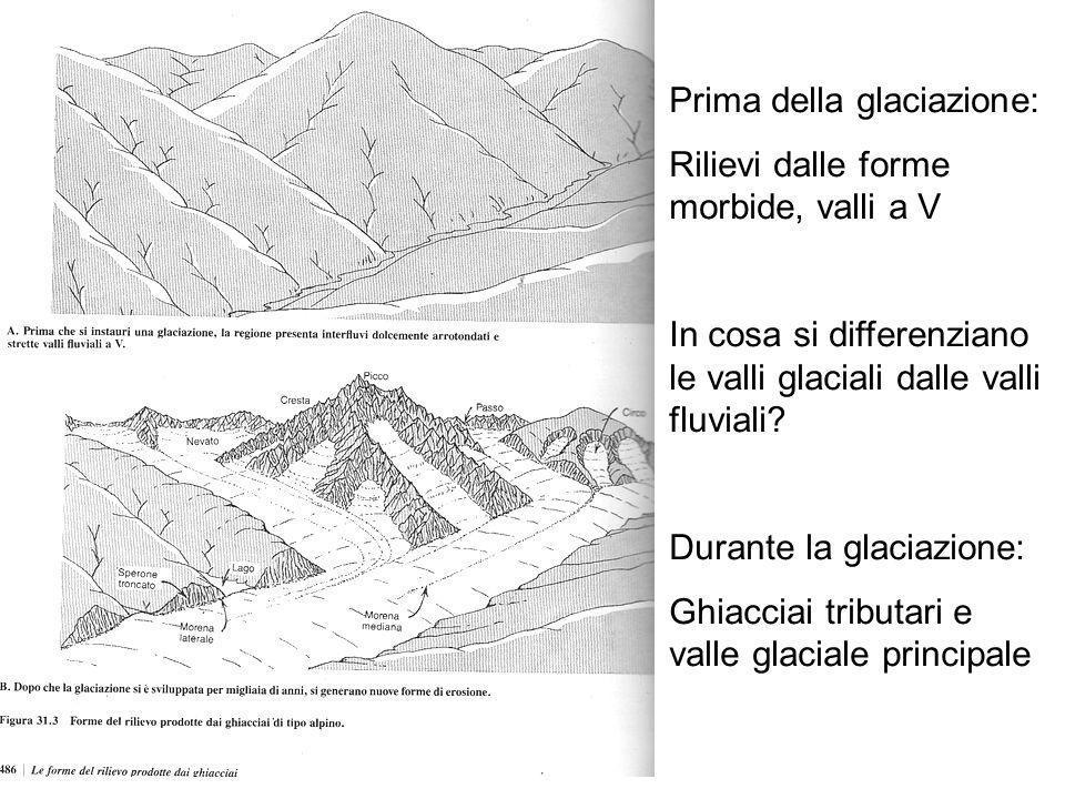 Prima della glaciazione: Rilievi dalle forme morbide, valli a V In cosa si differenziano le valli glaciali dalle valli fluviali? Durante la glaciazion