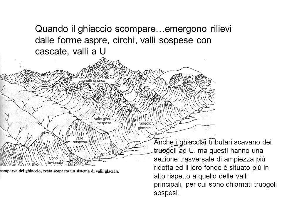 Quando il ghiaccio scompare…emergono rilievi dalle forme aspre, circhi, valli sospese con cascate, valli a U Anche i ghiacciai tributari scavano dei t