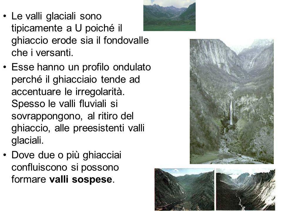 Le valli glaciali sono tipicamente a U poiché il ghiaccio erode sia il fondovalle che i versanti. Esse hanno un profilo ondulato perché il ghiacciaio
