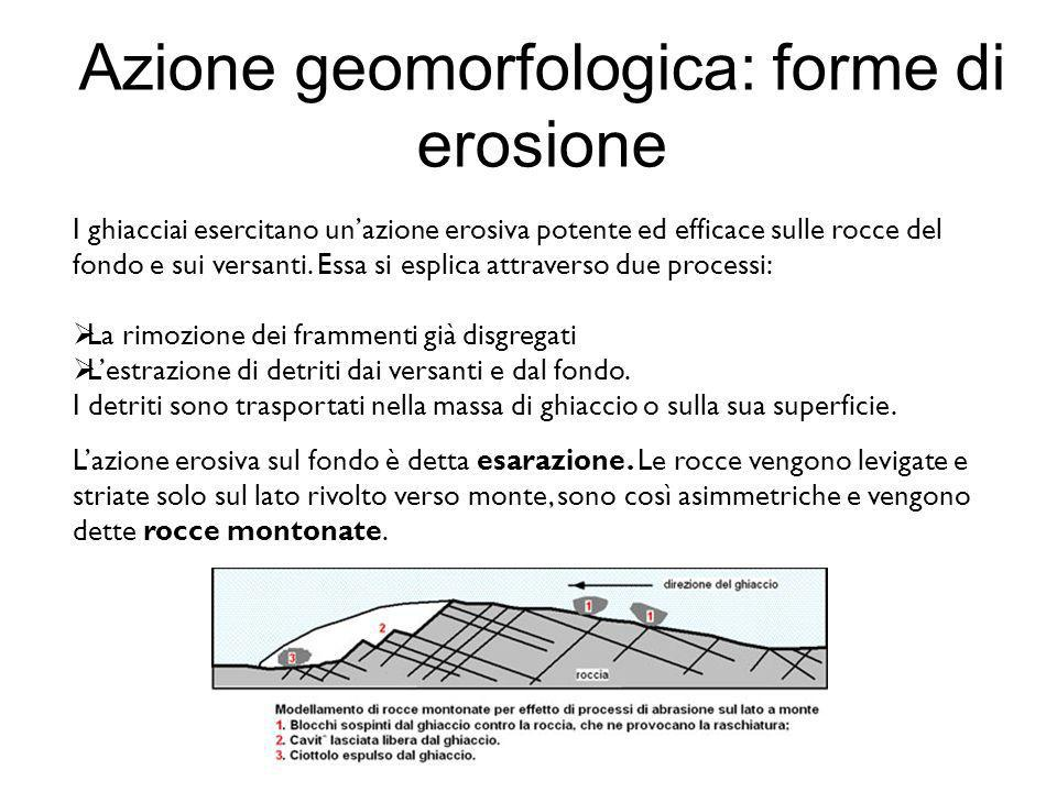 Azione geomorfologica: forme di erosione I ghiacciai esercitano unazione erosiva potente ed efficace sulle rocce del fondo e sui versanti. Essa si esp