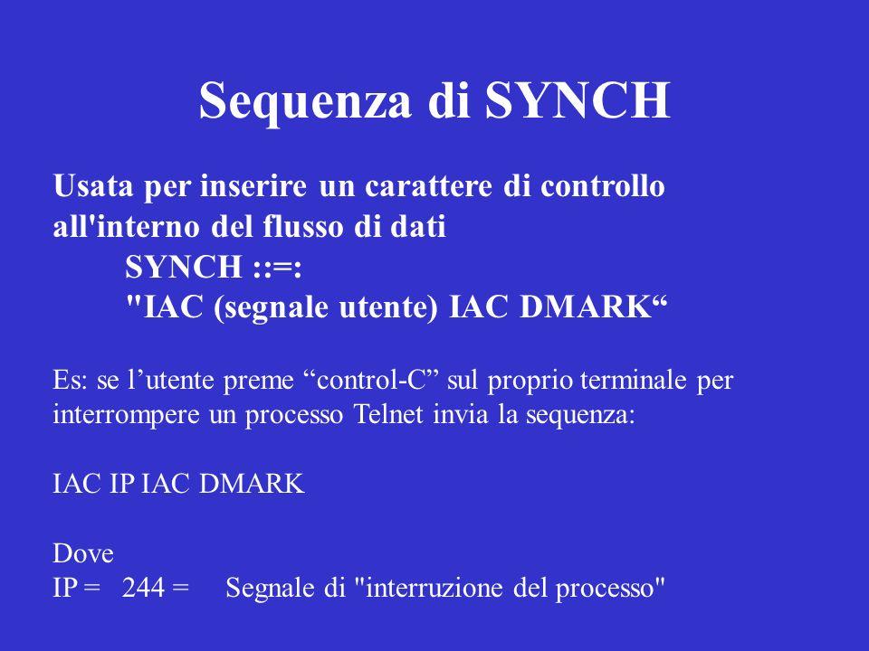 Sequenza di SYNCH Usata per inserire un carattere di controllo all'interno del flusso di dati SYNCH ::=: