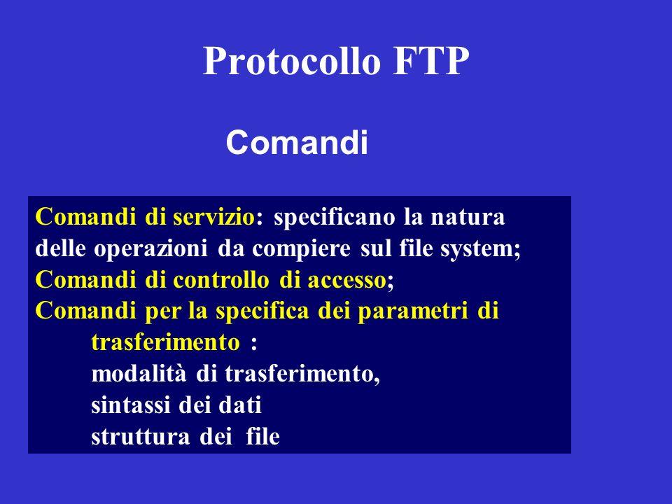 Protocollo FTP Comandi Comandi di servizio: specificano la natura delle operazioni da compiere sul file system; Comandi di controllo di accesso; Coman