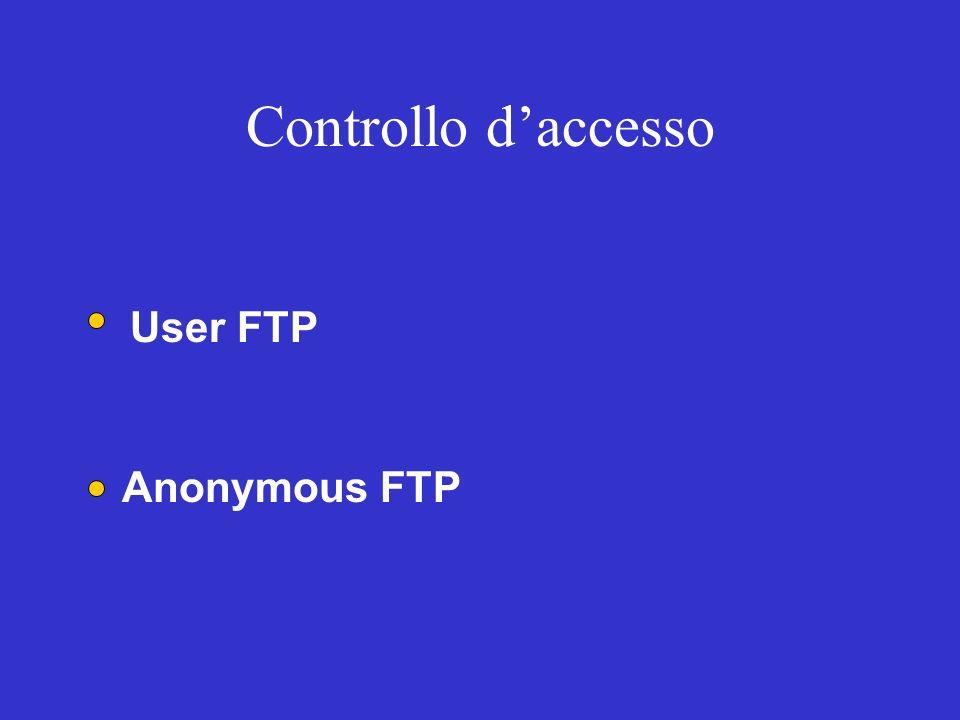 Controllo daccesso User FTP Anonymous FTP