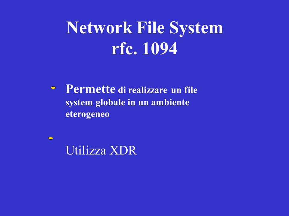 Network File System rfc. 1094 Permette di realizzare un file system globale in un ambiente eterogeneo Utilizza XDR