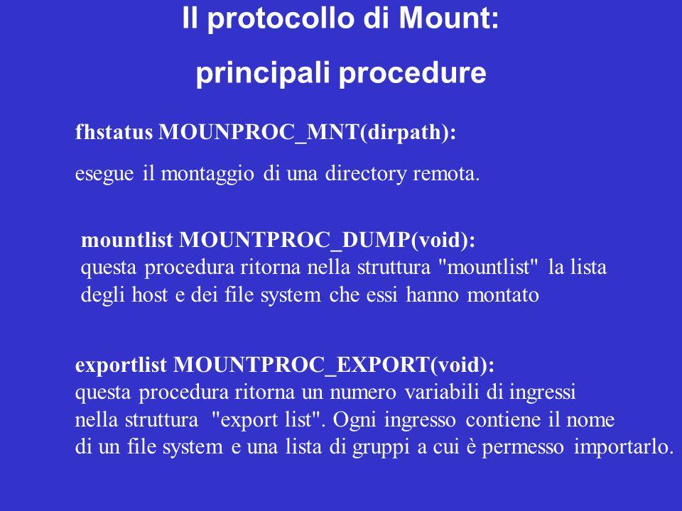 fhstatus MOUNPROC_MNT(dirpath): esegue il montaggio di una directory remota. mountlist MOUNTPROC_DUMP(void): questa procedura ritorna nella struttura