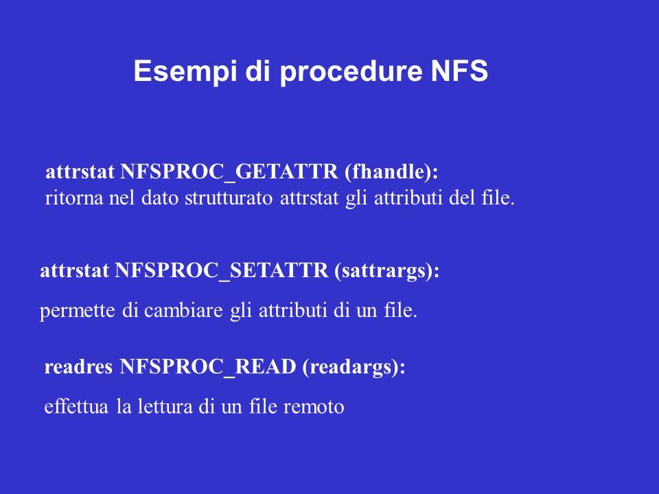 attrstat NFSPROC_GETATTR (fhandle): ritorna nel dato strutturato attrstat gli attributi del file. attrstat NFSPROC_SETATTR (sattrargs): permette di ca