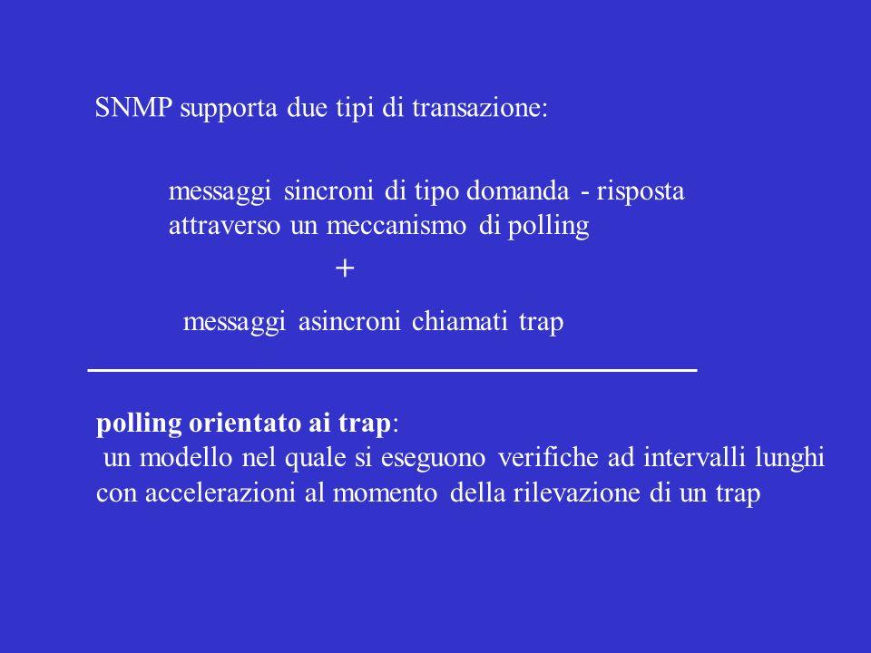 SNMP supporta due tipi di transazione: messaggi sincroni di tipo domanda - risposta attraverso un meccanismo di polling messaggi asincroni chiamati tr