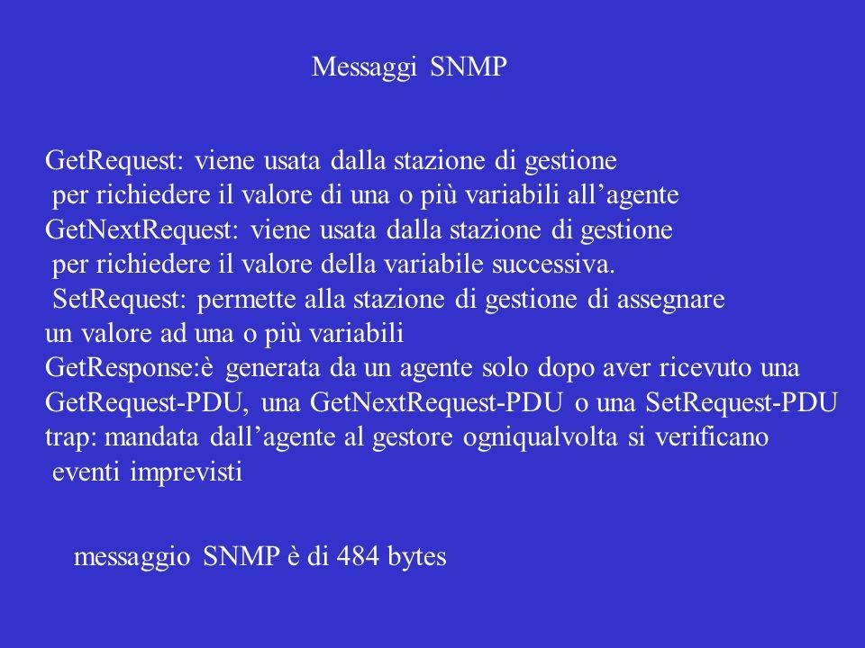 messaggio SNMP è di 484 bytes GetRequest: viene usata dalla stazione di gestione per richiedere il valore di una o più variabili allagente GetNextRequ