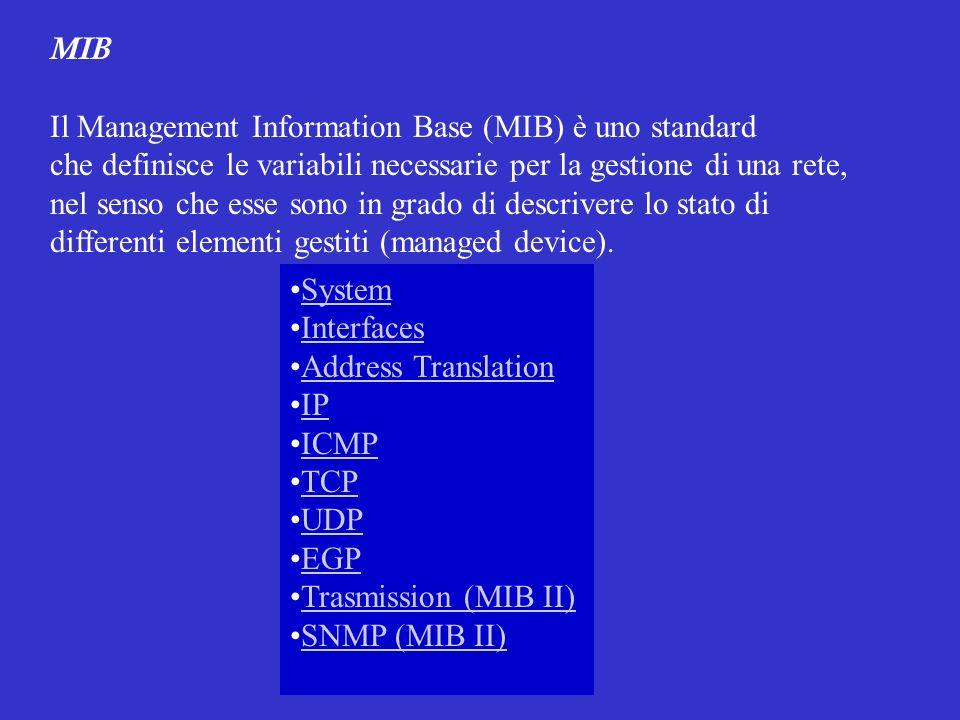 MIB Il Management Information Base (MIB) è uno standard che definisce le variabili necessarie per la gestione di una rete, nel senso che esse sono in