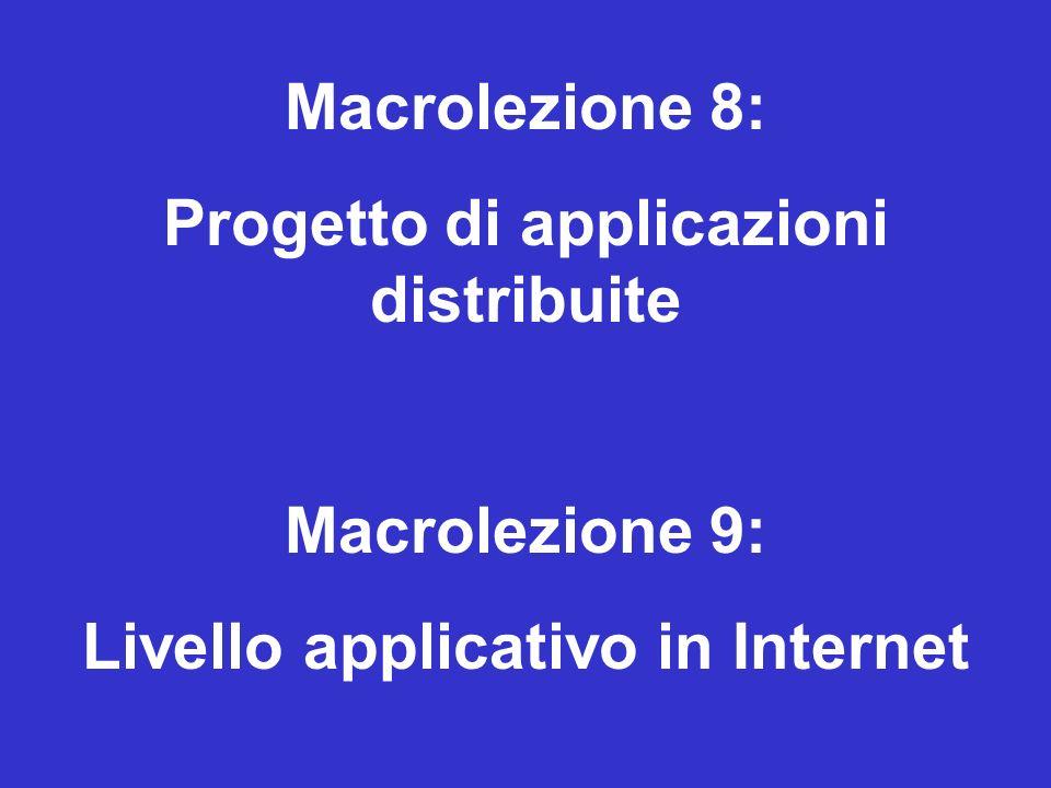 Macrolezione 8: Progetto di applicazioni distribuite Macrolezione 9: Livello applicativo in Internet