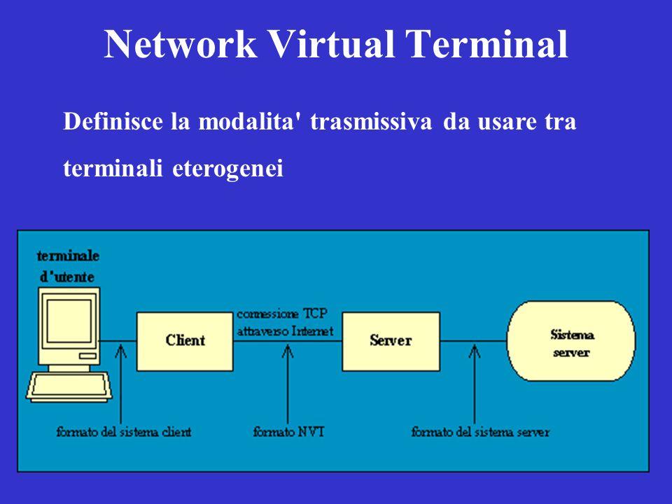 Network Virtual Terminal Definisce la modalita' trasmissiva da usare tra terminali eterogenei
