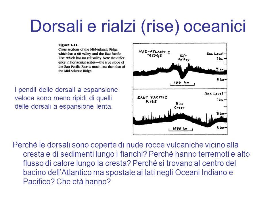 Dorsali e rialzi (rise) oceanici Perché le dorsali sono coperte di nude rocce vulcaniche vicino alla cresta e di sedimenti lungo i fianchi? Perché han