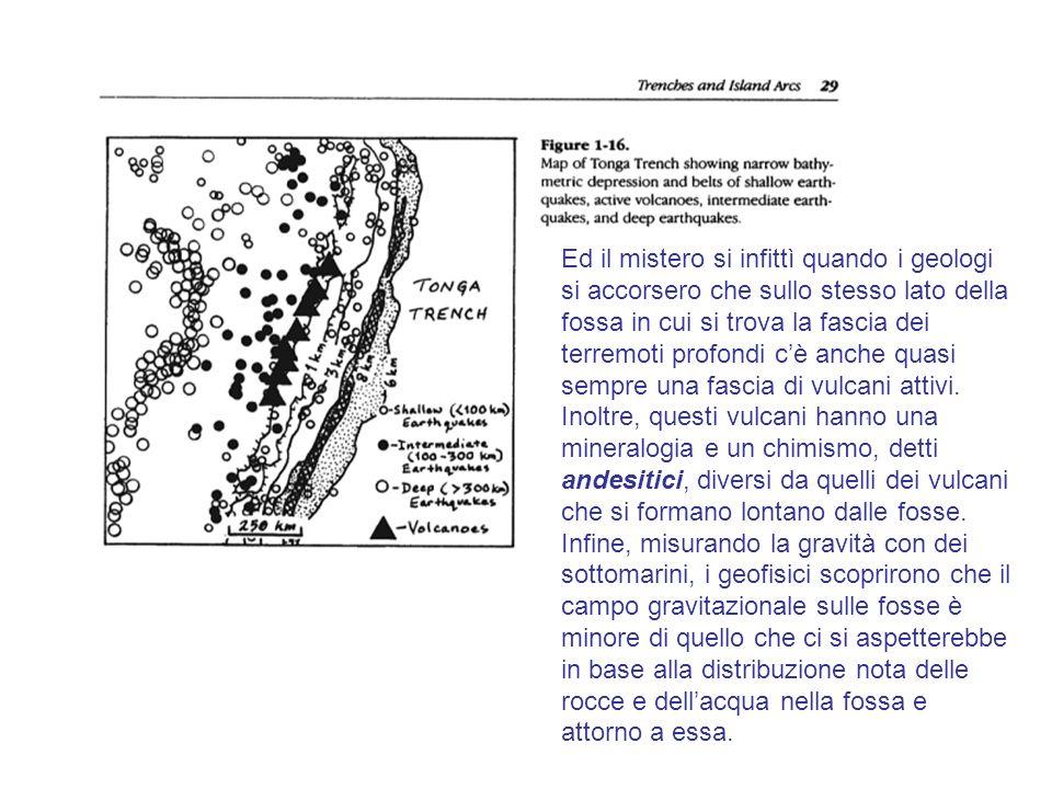 Ed il mistero si infittì quando i geologi si accorsero che sullo stesso lato della fossa in cui si trova la fascia dei terremoti profondi cè anche qua