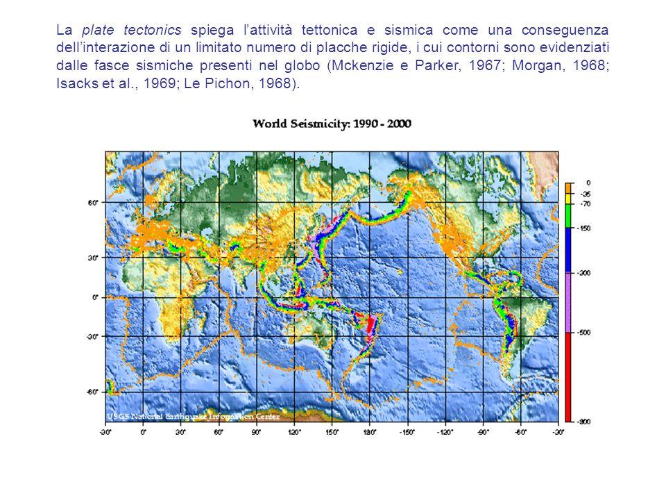 La plate tectonics spiega lattività tettonica e sismica come una conseguenza dellinterazione di un limitato numero di placche rigide, i cui contorni s
