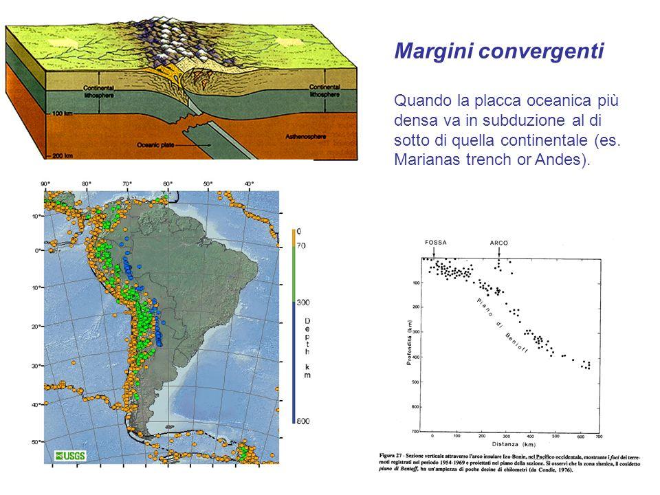 Margini convergenti Quando la placca oceanica più densa va in subduzione al di sotto di quella continentale (es. Marianas trench or Andes).