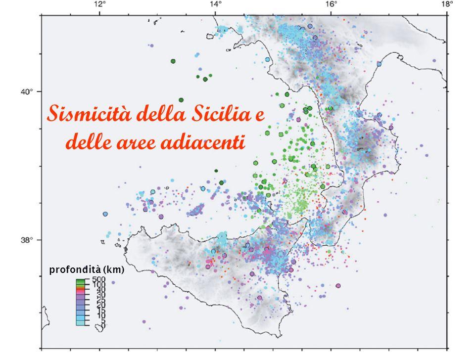 Sismicità della Sicilia e delle aree adiacenti profondità (km)