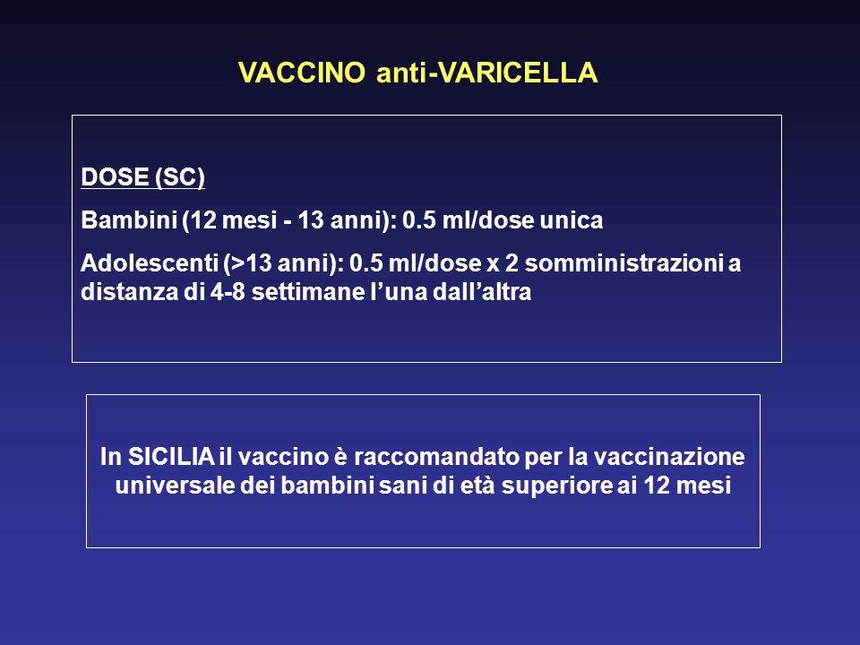 VACCINO anti-VARICELLA DOSE (SC) Bambini (12 mesi - 13 anni): 0.5 ml/dose unica Adolescenti (>13 anni): 0.5 ml/dose x 2 somministrazioni a distanza di 4-8 settimane luna dallaltra In SICILIA il vaccino è raccomandato per la vaccinazione universale dei bambini sani di età superiore ai 12 mesi
