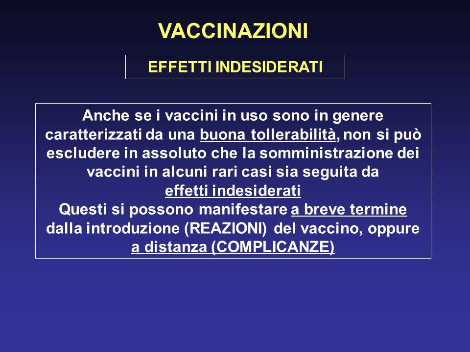VACCINAZIONI Anche se i vaccini in uso sono in genere caratterizzati da una buona tollerabilità, non si può escludere in assoluto che la somministrazione dei vaccini in alcuni rari casi sia seguita da effetti indesiderati Questi si possono manifestare a breve termine dalla introduzione (REAZIONI) del vaccino, oppure a distanza (COMPLICANZE) EFFETTI INDESIDERATI